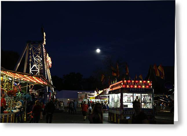 Carnival And Moon Greeting Card by Mary Bedy