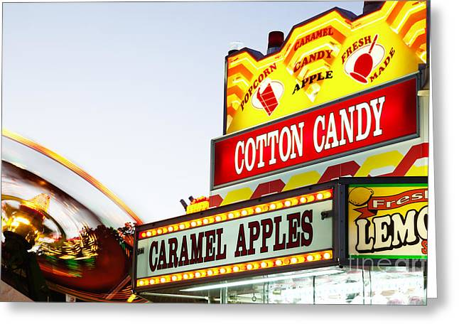 Carnival Concession Stand Sign And Ride Greeting Card by Paul Velgos