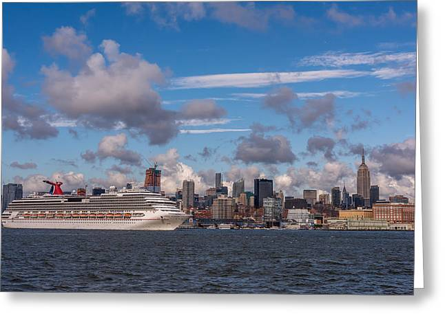Carnival Cruise Splendor Waterfront Hoboken Nj Greeting Card by Terry DeLuco