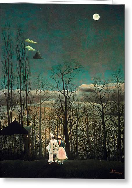 Carnival Evening Greeting Card by Henri Rousseau
