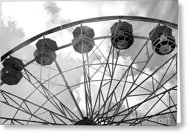 Greeting Card featuring the photograph Carnival Ferris Wheel Black And White Print - Carnival Rides Ferris Wheel Black And White Art Prints by Kathy Fornal