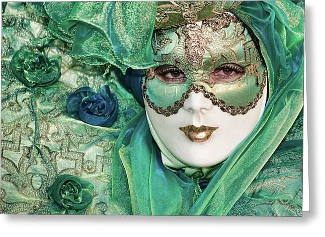 Carnival In Green Greeting Card