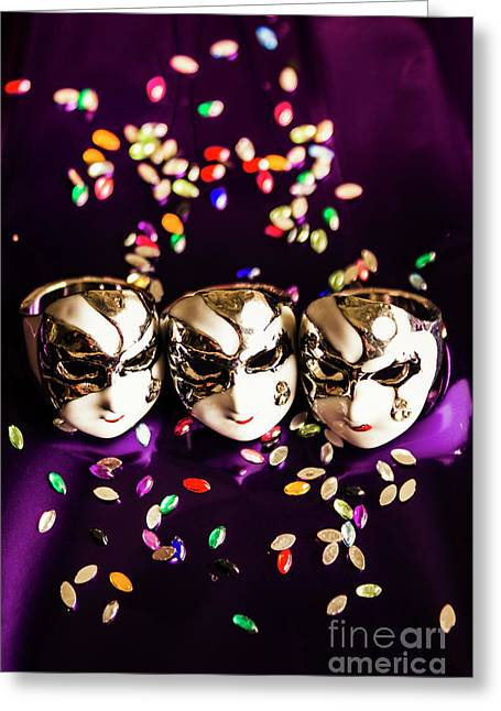 Carnival Mask Jewelry On Purple Background Greeting Card by Jorgo Photography - Wall Art Gallery