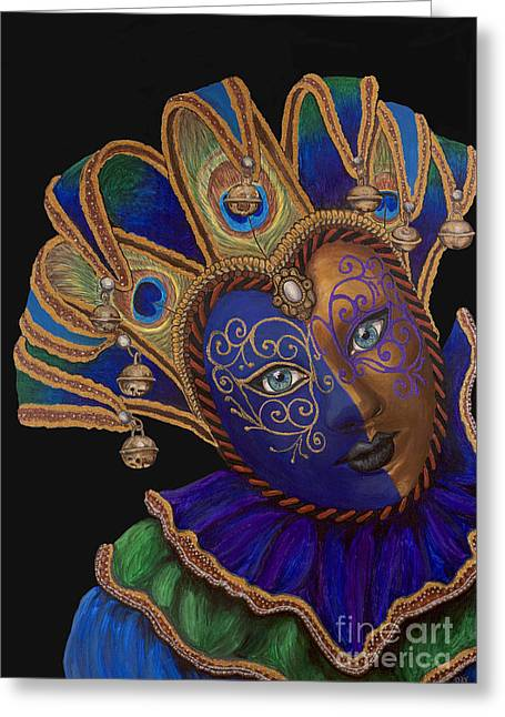 Carnival Peacock Jester Greeting Card
