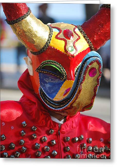 Carnival Red Duck Portrait Greeting Card