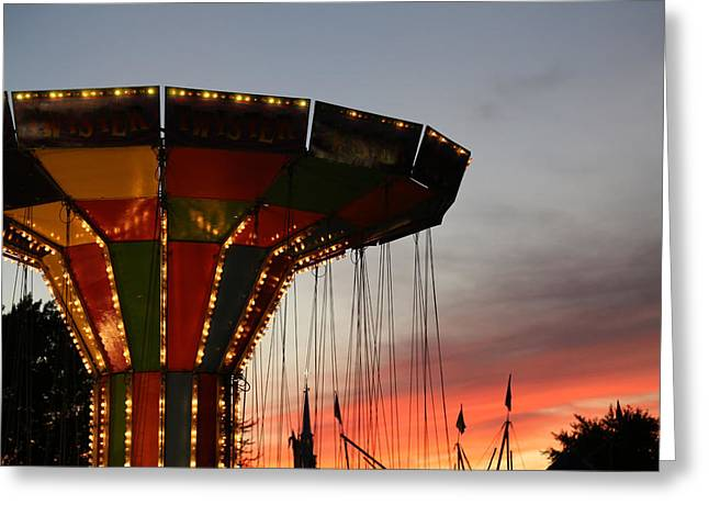 Carnival Ride And Sunset 2 Greeting Card by Mary Bedy