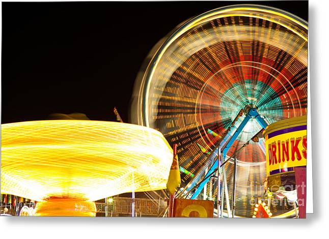Carnival Rides At Night Picture Greeting Card by Paul Velgos