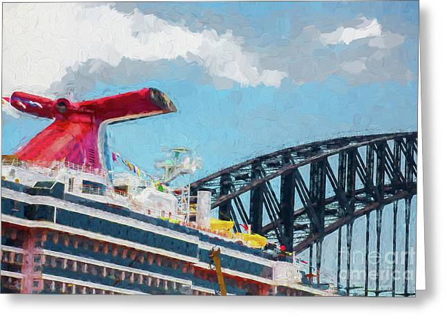 Carnival Spirit And Harbour Bridge Greeting Card by Avalon Fine Art Photography
