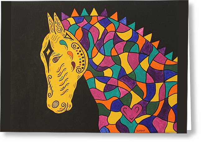 Carnival Stained Glass Tribal Horse Greeting Card by Susie WEBER