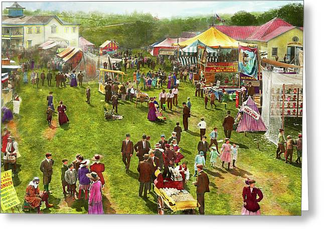 Carnival - Summer At The Carnival 1900 Greeting Card by Mike Savad