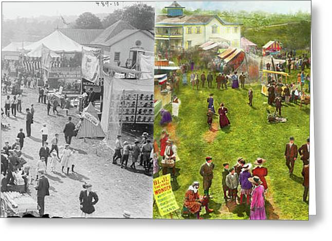 Carnival - Summer At The Carnival 1900 - Side By Side Greeting Card by Mike Savad
