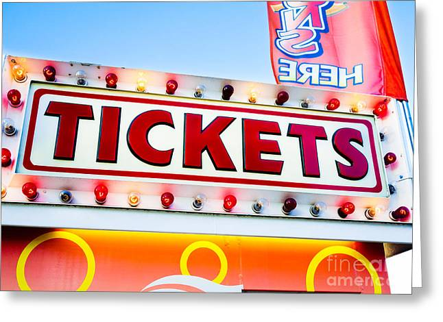Carnival Tickets Sign Greeting Card by Paul Velgos