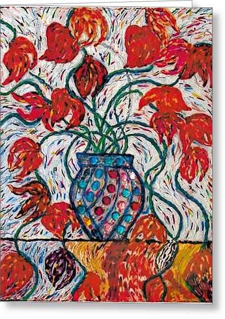 Carnivale Of Flowers Greeting Card by Brenda Adams