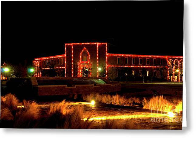 Greeting Card featuring the photograph Carol Of Lights At Science Building by Mae Wertz