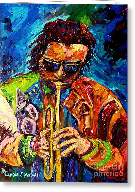 Carole Spandau Paints Miles Davis And Other Hot Jazz Portraits For You Greeting Card by Carole Spandau