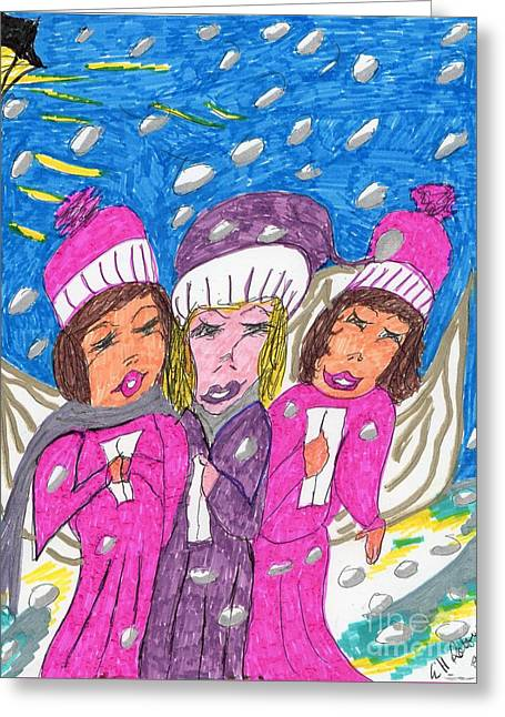 Angel Carolers On A Snowy Night Greeting Card by Elinor Rakowski