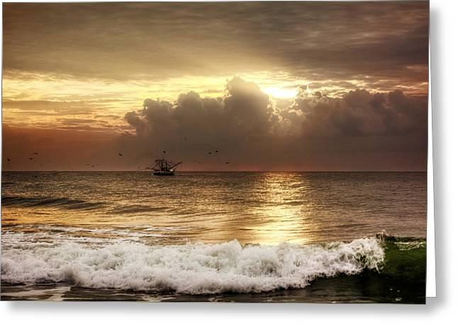 Carolina Beach Shrimp Boat At Sunrise Greeting Card