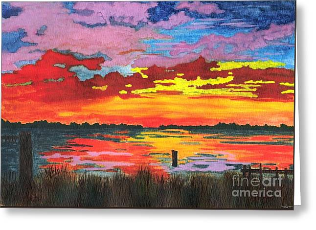 Greeting Card featuring the painting Carolina Sunset by Patricia Griffin Brett