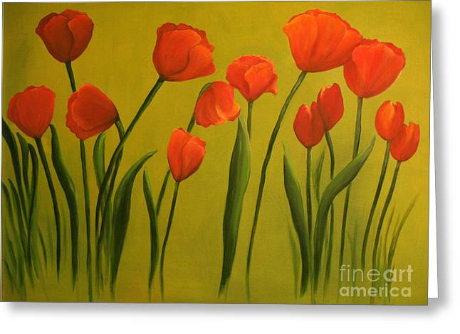 Carolina Tulips Greeting Card by Carol Sweetwood