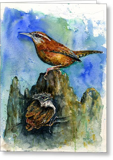 Carolina Wren And Baby Greeting Card by John D Benson