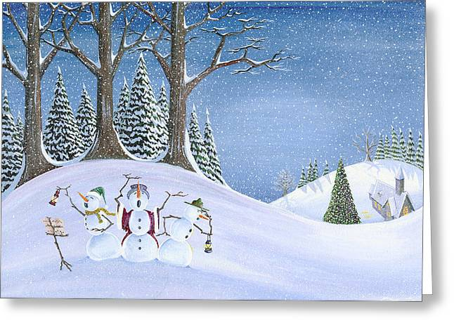 Caroling Snowmen Greeting Card by Thomas Griffin