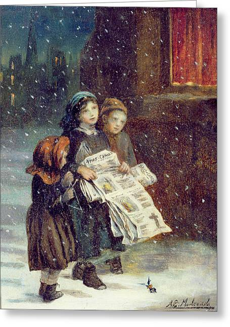 Slush Greeting Cards - Carols for Sale  Greeting Card by Augustus Edward Mulready