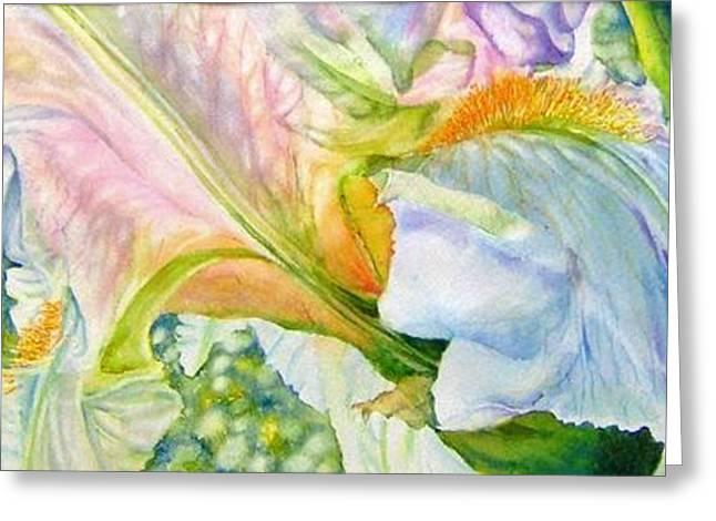 Carols-iris-i Greeting Card by Nancy Newman