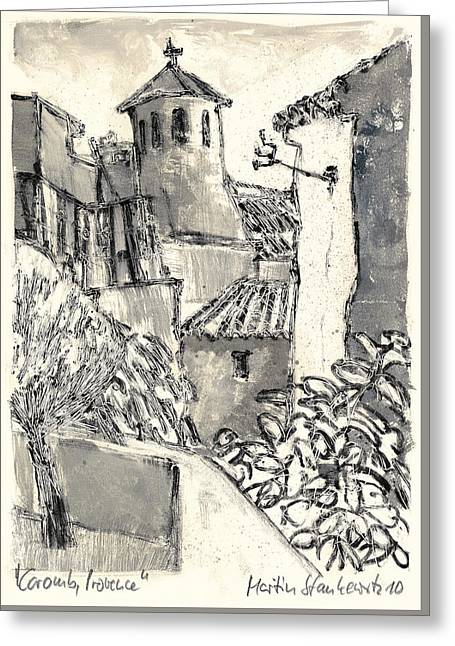 Greeting Card featuring the painting Caromb Village In Provence by Martin Stankewitz