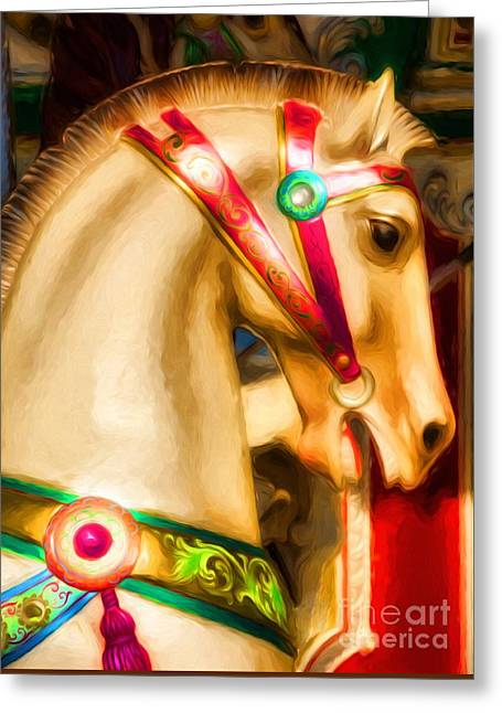 Greeting Card featuring the photograph Carousel Colors by Mel Steinhauer
