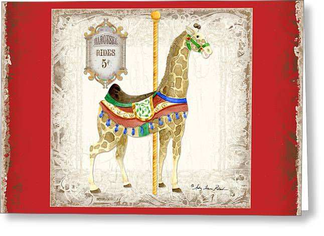 Carousel Dreams - Giraffe Greeting Card by Audrey Jeanne Roberts