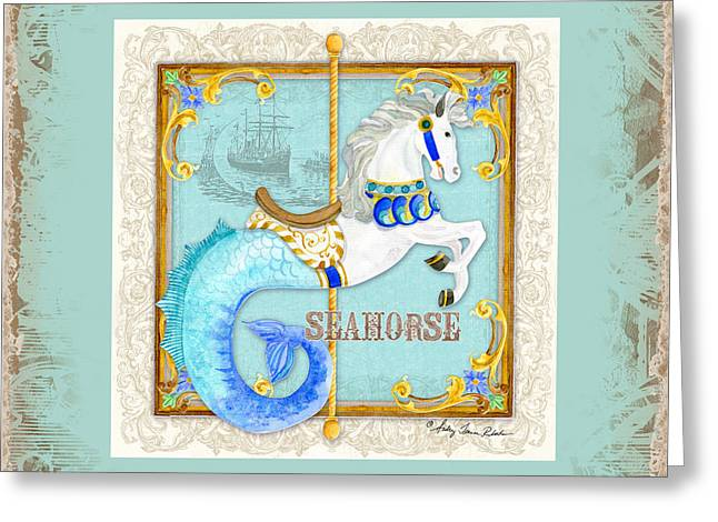 Carousel Dreams - Seahorse Greeting Card by Audrey Jeanne Roberts