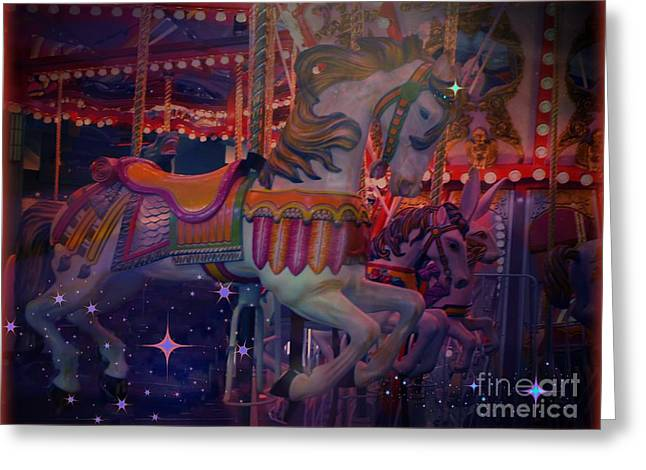 Carousel Horse Greeting Card by Annie Gibbons