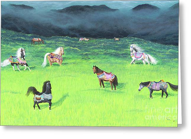 Greeting Card featuring the painting Carousel Horse Retirement by Cindy Lee Longhini