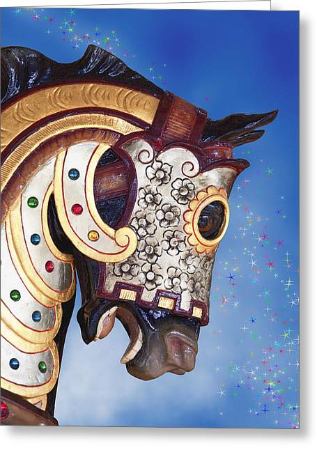 Carousel Horse Greeting Card by Tom Mc Nemar