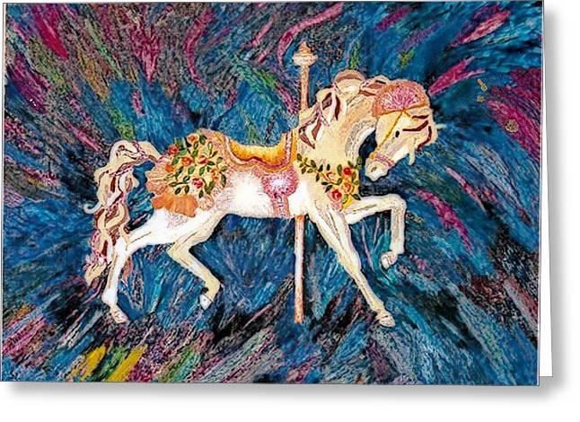 Carousel Horse With Dark Background Greeting Card by Brenda Adams