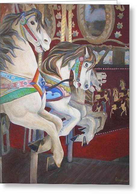 Carousel Horses Greeting Card by Linda Cleveland