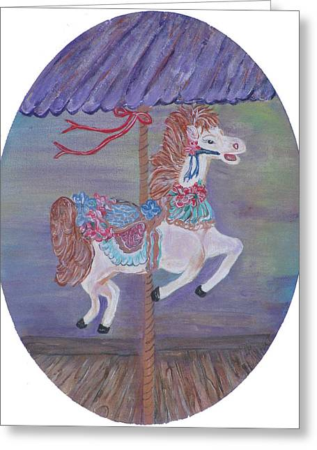 Carousel Greeting Card by Mikki Alhart