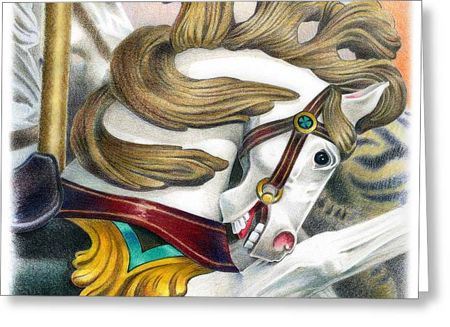 Amusements Drawings Greeting Cards - Carousel One Greeting Card by Todd Baxter
