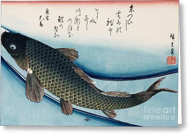 Carp Greeting Card by Hiroshige