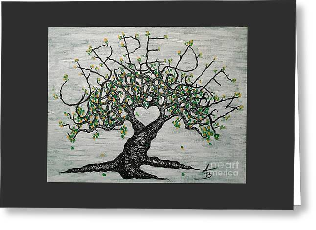 Greeting Card featuring the drawing Carpe Diem Love Tree by Aaron Bombalicki