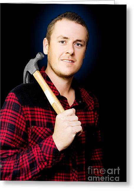 Carpenter With A Hammer Greeting Card by Jorgo Photography - Wall Art Gallery