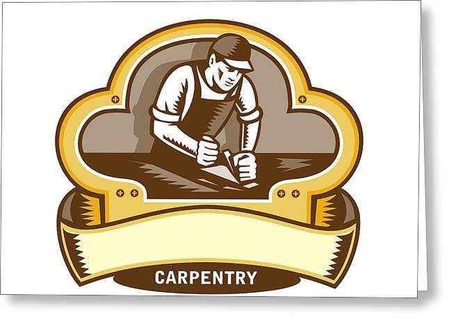 Carpenter Woodworker Plane Clover Leaf Retro Greeting Card