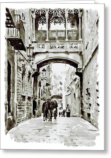 Carrer Del Bisbe - Barcelona Black And White Greeting Card