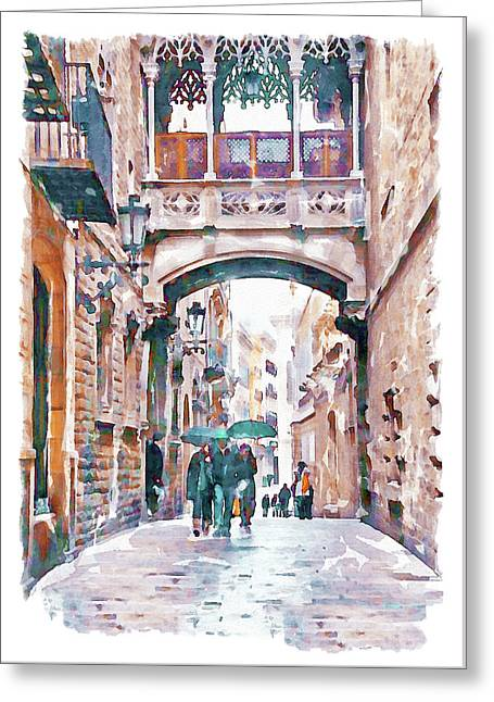 Carrer Del Bisbe - Barcelona Greeting Card by Marian Voicu