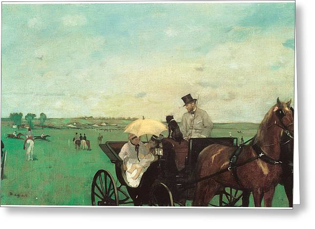 Carriage At The Races Greeting Card by Edgar Degas