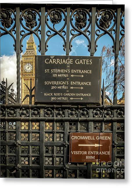 Carriage Gates London Greeting Card by Adrian Evans