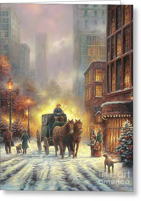 Carriage Ride Greeting Card by Chuck Pinson