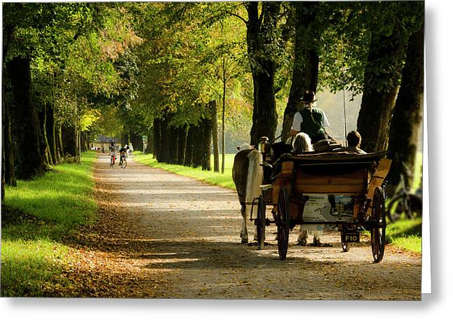 Carriage Ride In Hellbrunn Greeting Card