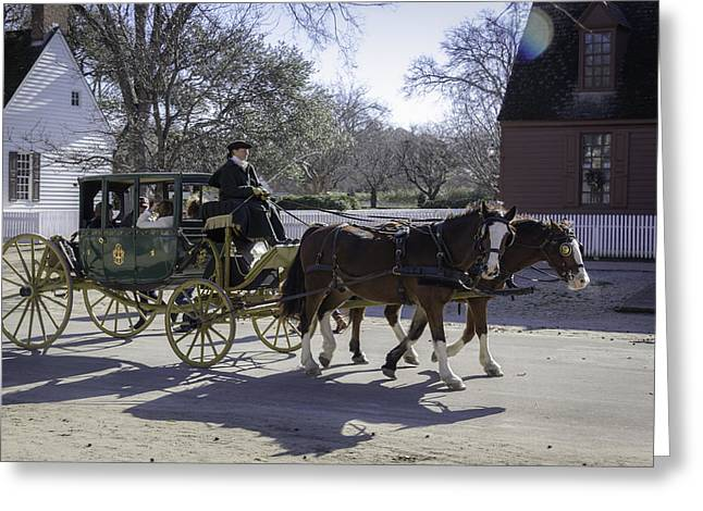 Carriage Ride In The Winter Greeting Card by Teresa Mucha