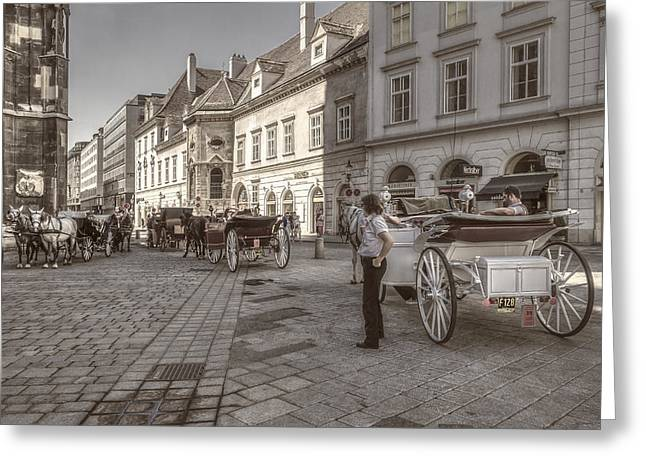 Carriages Back To Stephanplatz Greeting Card
